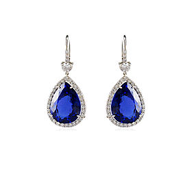 27.61 Carat Total Pear Shape Tanzanite and Diamond Earrings in 18 Karat Gold