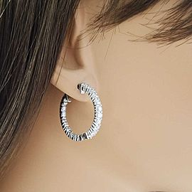 Earring 14KW, Dia 3.00CTW BR IN & OUT HOOPS 42STN