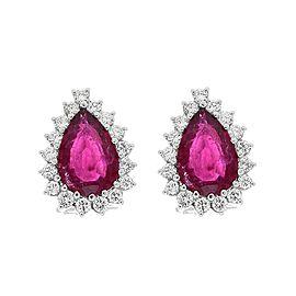 7.00 Carat Total Pear Shape Rubellite and Diamond Stud Earrings in Platinum