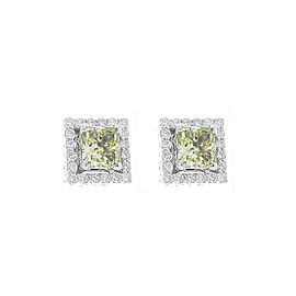 GIA Certified 3.40 Carat Total Princess Cut Fancy Light Yellow Diamond Earrings