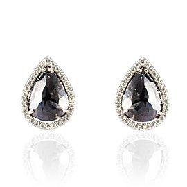 7.21 Carat Total Pear Shape Black Diamond Fancy Stud Earrings in 14 Karat Gold