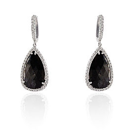 9.61 Carat Total Pear Shape Black Diamond Dangle Earrings in 18 Karat Gold