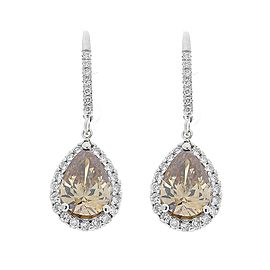 4.00 Carat Total Pear Shaped Fancy Brown Diamond Earrings in 18 Karat White Gold
