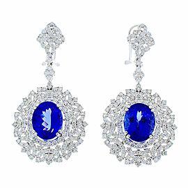11.82 Carat Total Oval Tanzanite and Diamond Earrings in 18 Karat White Gold