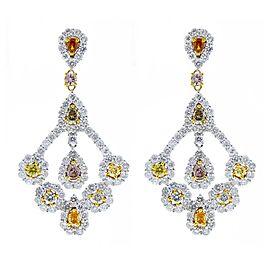 5.77 Carat Total Fancy Cut Fancy Color Diamond Earrings in 14 Karat White Gold