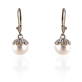 White Pearl and Diamond Earrings in 14 Karat White Gold