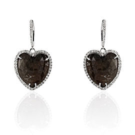 28.50 Carat Total Heart Shape Black Diamond Earrings in 14 Karat White Gold