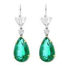 PGS Certified Pear Shape Emeralds and GIA Certified Rose Cut Diamond Earrings