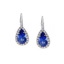 GIA Certified 8.86 Carat Total Pear Shaped Blue Sapphire & White Diamond Earring
