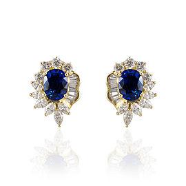5.20 Carat Total Oval Blue Sapphire and Diamond Stud Earrings in 18 Karat Gold