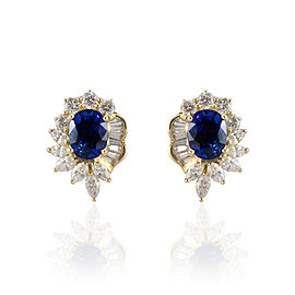 5.20 Carat Total Oval Blue Sapphire and Diamond Stud Earrings in 18 Karat Gold