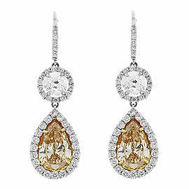 3.51 Carat Pear Shape Fancy Yellow Diamond Dangle Earrings in Platinum
