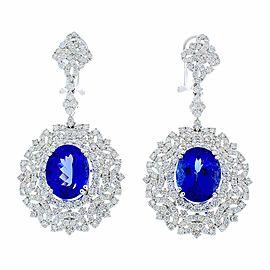 8.70 Carat Total Oval Tanzanite and Diamond Earrings in 18 Karat White Gold