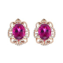 7.94 Carat Total Oval Rubellite and Diamond Earring in 14 Karat Rose Gold