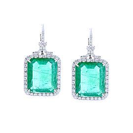 GIA Certified 23.24 Carat Total Emerald And Diamond Earrings