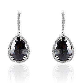 10.89 Carat Total Pear Shape Black Diamond Dangle Earrings in 14 Karat Gold