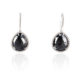17.35 Carat Total Pear Shaped Black Diamond Dangle Earring in 14 Karat Gold