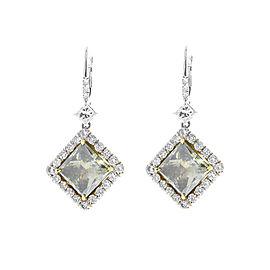 GIA Certified 8.03 Carat Total Princess Cut Fancy Brown Diamond Earring