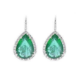 11.18 Carat Total Pear Shaped Emerald and Diamond Earrings in 18 Karat Gold