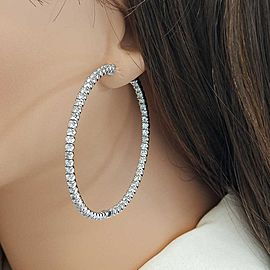 4.75 Carat Total in and Out Diamond Hoop Earrings in 14 Karat White Gold