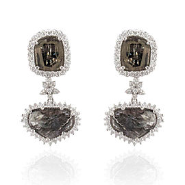 2.99 Carat Total Faceted Fancy Sliced Black Diamond Earrings in 18 Karat Gold