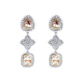 4.46 Carat Total Faceted Fancy Black Diamond Dangle Earrings In 18K White Gold