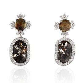 5.28 Carat Total Faceted Fancy Sliced Brown Diamond Earrings in 18 Karat Gold