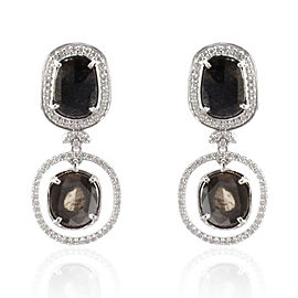 4.21 Carat Total Faceted Fancy Sliced Black Diamond Earrings in 18 Karat Gold