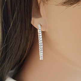 2.45 Carat Total Diamond in and Out Hoop Earrings in 14 Karat Rose Gold