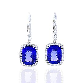 11.47 Carat Total Cushion Cut Tanzanite and Diamond Earrings in 14 Karat Gold