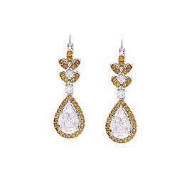 3.59 Carat Pear Shape White Diamond & Brown Diamond Earrings In 18 K White Gold