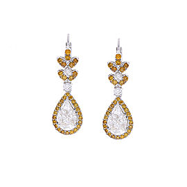 3.59 Carat Pear Shape White Diamond & Brown Diamond Earrings In 18 K White Gold