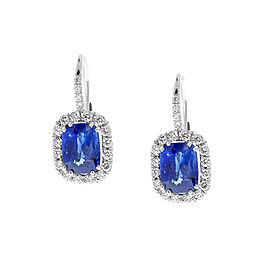 TGL & EGL Certified 4.33Carat Total Cushion Cut Blue Sapphire & Diamond Earrings