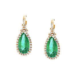 PGS Certified Pear Shaped Colombian Emerald Earrings in 18 Karat White Gold