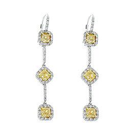 3.00 Carat Total Cushion Cut Fancy Yellow Diamond Dangle Earrings in Platinum
