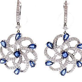 3.81 Carat Total Pear Shape Blue Sapphire and Diamond Earrings in 18 Karat Gold