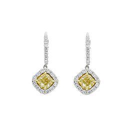 1.70 Carat total Cushion Cut Fancy Yellow Diamond Two Tone Earrings In 18K Gold