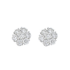 2.85 Carat Total Cluster Diamond Stud Earrings in 14 Karat White Gold