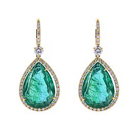19.97 Carat Total Pear Shaped Emerald and Diamond Earrings in 18 Karat Gold