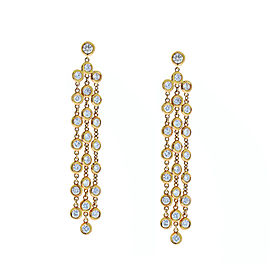 2.27 Carat Total Bezel Set Diamond Chandelier Earrings in 14 Karat Rose Gold