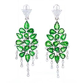 21.53 Carat Pear Shaped Tsavorite and Diamond Chandelier Earrings in White Gold