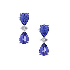 4.88 Carat Total Pear Shape Tanzanite and Diamond Earrings in 18 Karat Gold