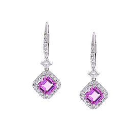 2.84 Carat Total Asscher Cut Pink Sapphire And Diamond Earrings In 14k Gold