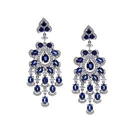 6.71 Carat Oval Blue Sapphire and Diamond Earrings in 18 Karat White Gold