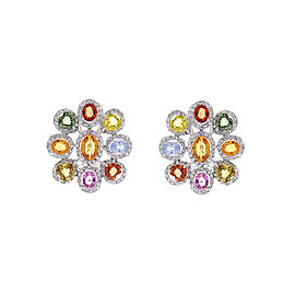 10.00 Carat Total Multi-Color Sapphire & Diamond Earrings in 18 Karat White Gold
