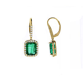 GiA Certified 8.55 Carat Total Emerald Cut Emerald & Diamond Earrings In 18K