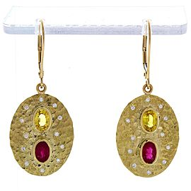 1.27 Carat Total Oval Ruby, Yellow Sapphire & Diamond Earrings In 14 K Gold