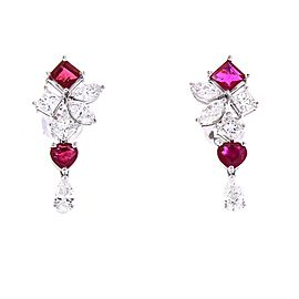 2.26 Carat Total Ruby and Diamond Earrings in 18 Karat White Gold