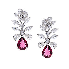 2.50 Carat Total Pear Shape Rubelite & Diamond Earrings in 18 Karat White Gold