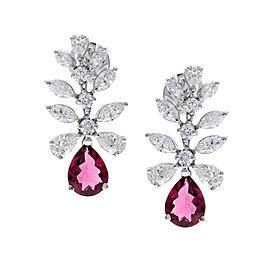 2.50 Carat Total Pear Shape Rubelite & Diamond Earrings in 18 Karat White Gold